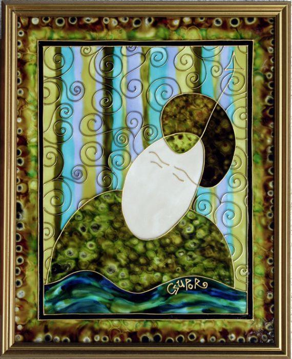 Kérdező üvegfestmény