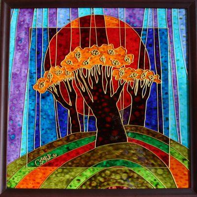 Ősz üvegfestmény